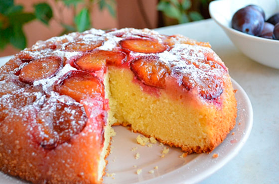Пирог со сливами рецепт фото без масла