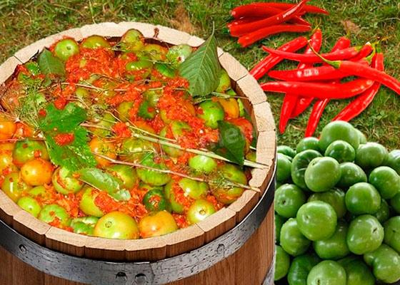 Засолить зеленые помидоры в бочке на зиму
