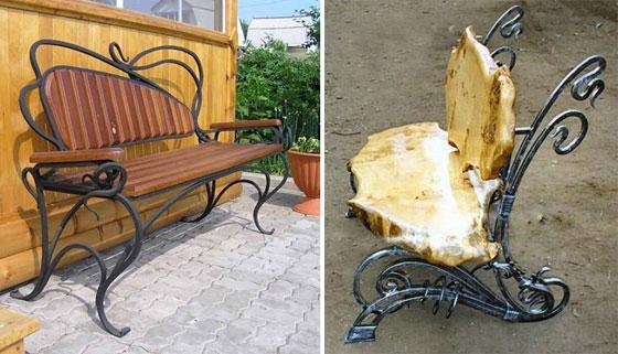 скамейки садовые кованые фото