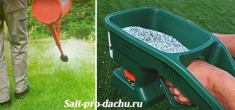 Подкормка газона жидкими и гранулированными удобрениями