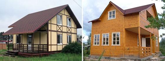 каркасные дома, обшитые цементно-стружечными плитами и деревянной вагонкой