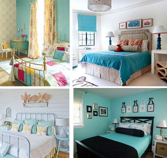 бирюзовый цвет в интерьере спальни