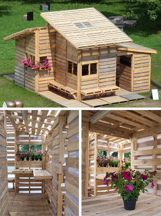 Летний домик из деревянных паллет