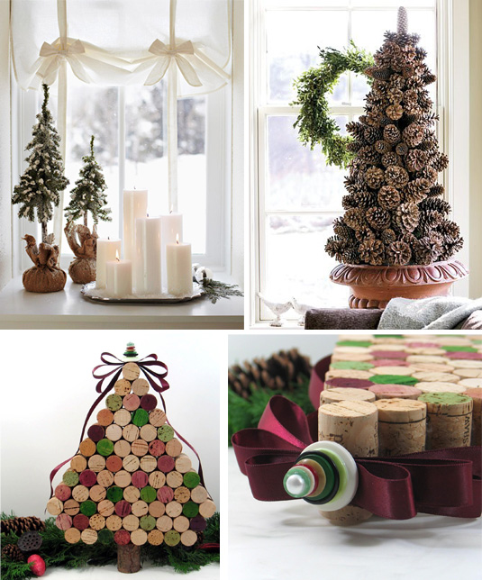Декоративные новогодние елки из винных пробок