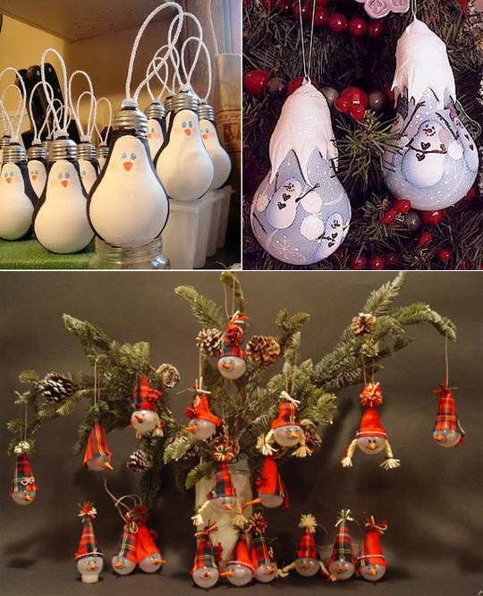 Игрушки на елку из лампочек