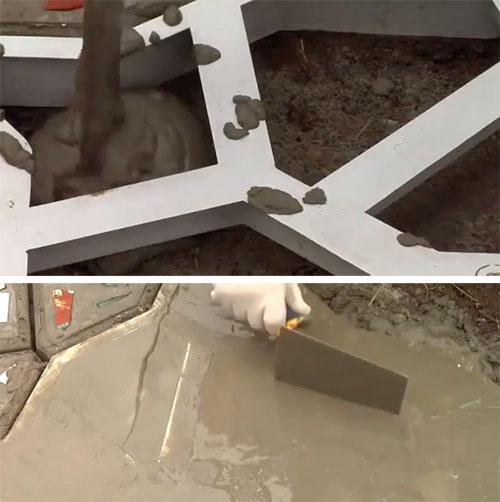 заливаем форму бетоном