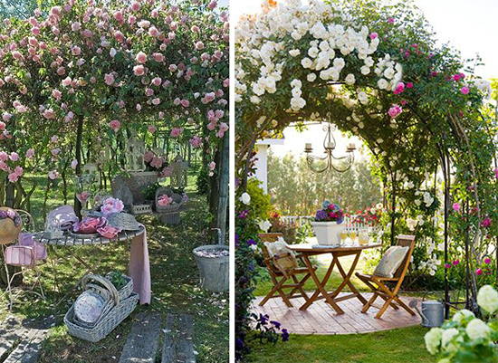Вьющиеся розы в оформлении зоны отдыха