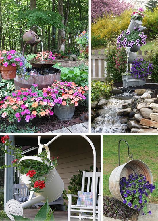 Оригинальные цветочные композиции и садовые фонтанчики