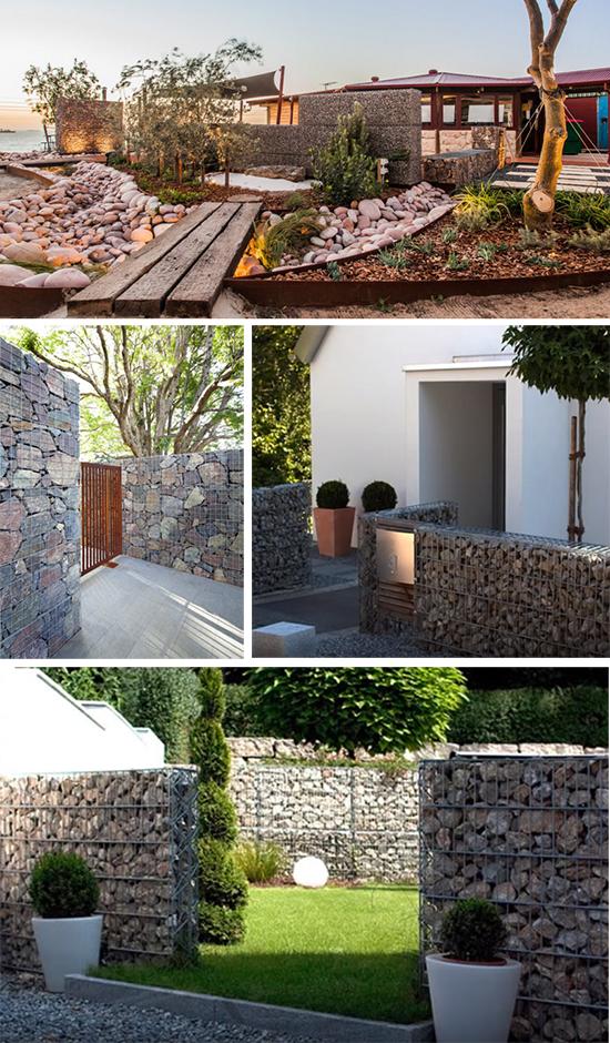 Оформление садового пространства габионами