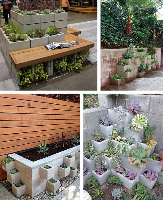 Клумбы садовые из шлакоблоков