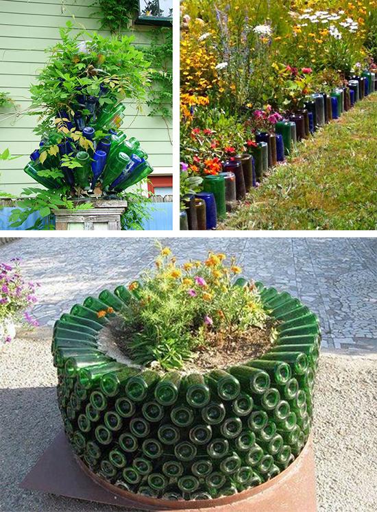 Стеклотара в садовом дизайне