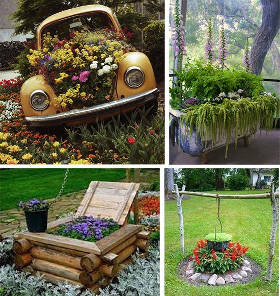 Цветочные арт объекты в саду