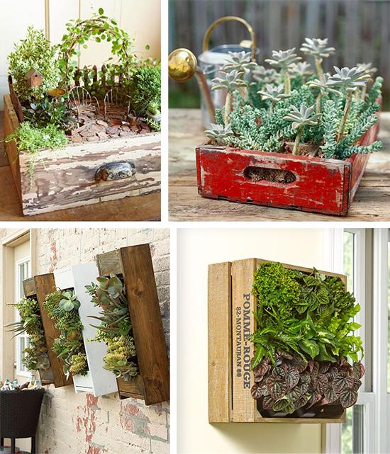Ящики в садовом декоре