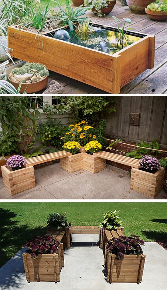 Садовые скамейки и миниводоем