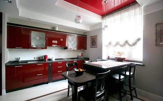 Интерьер кухни фото в бордовом цвете