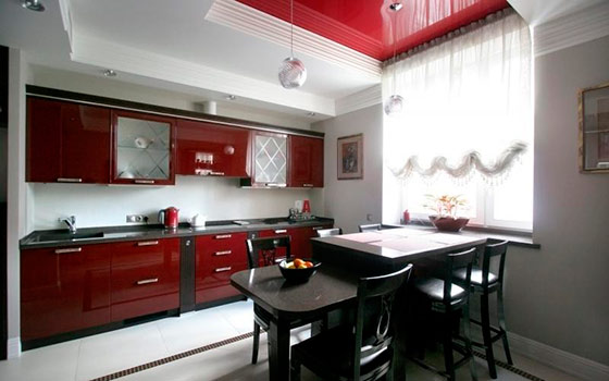 Кухня бордовая фото интерьер