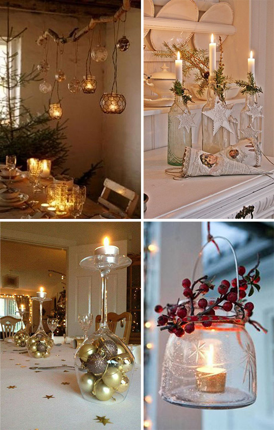 Свечи в рождественском убранстве дома