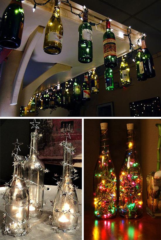 Светильники и подсвечники из винных бутылок