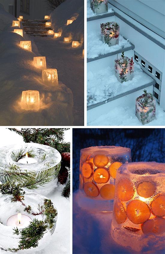 Ледяные свечи для украшения двора