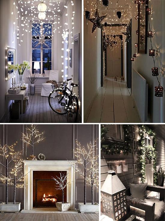 Электрические гирлянды в рождественском интерьере