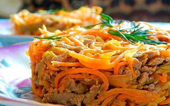 Как сделать салат с печенью и морковью 170