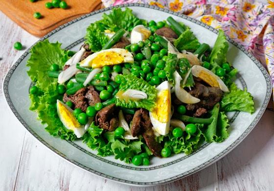 Салат из печени куриной и фасоли рецепт