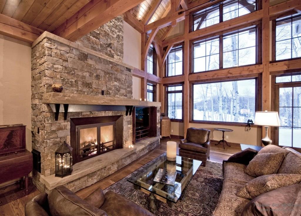 Интерьеры гостиных загородных домов с камином